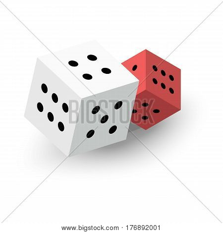 Two dice cubes icon. Isometric 3d illustration of two dice cubes vector icon for web