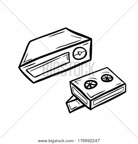 Videoplayer with two cassettes in doodle style. Hand drawn vector illustration isolated on white.