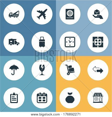 Vector Illustration Set Of Simple Conveyance Icons. Elements Packaging, Gift, Airline And Other Synonyms Gingham, Travel And Pouch.
