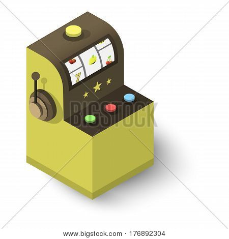 Slot machine icon. Isometric 3d illustration of slot machine vector icon for web