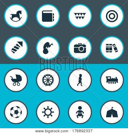Vector Illustration Set Of Simple Infant Icons. Elements Kid, Board, Stroller And Other Synonyms Bookshop, Pram And Library.