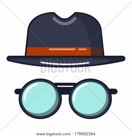 Black hat and glasses icon. Cartoon illustration of black hat and glasses vector icon for web