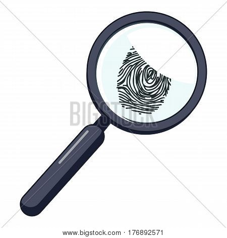 Magnifier and fingerprint icon. Cartoon illustration of magnifier and fingerprint vector icon for web