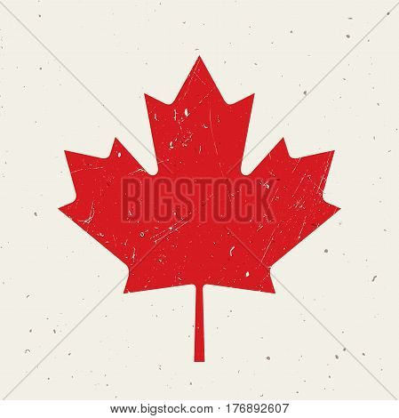 Maple leaf of the Canadian flag with grunge texture.