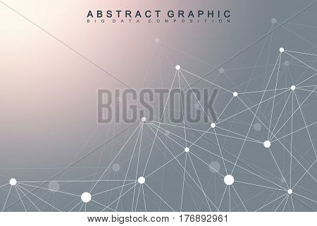 Geometric graphic background molecule and communication. Big data complex with compounds. Perspective backdrop. Minimal array. Digital data visualization. Scientific cybernetic vector illustration