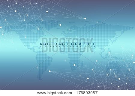 Geometric graphic background communication with Dotted World Map. Big data complex with compounds. Perspective minimal array. Digital data visualization. Scientific cybernetic vector illustration