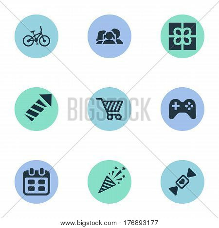 Vector Illustration Set Of Simple Birthday Icons. Elements Store Cart, Firecracker, Bicycle And Other Synonyms Joystick, Firecracker And Date.