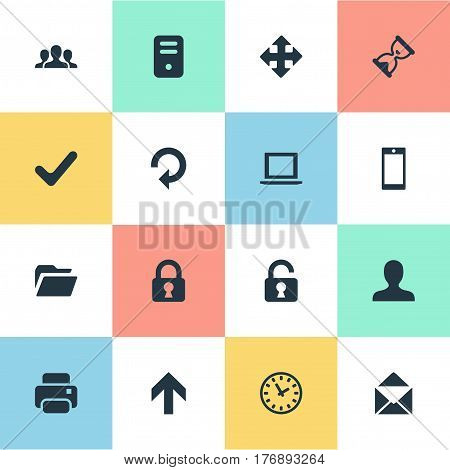 Vector Illustration Set Of Simple Application Icons. Elements Check, Dossier, Watch And Other Synonyms Check, Unlock And File.