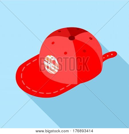 Red baseball cap icon. Flat illustration of red baseball cap vector icon for web