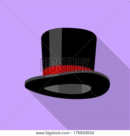 Cylinder hat icon. Flat illustration of cylinder hat vector icon for web