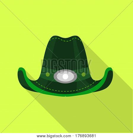 Green hat icon. Flat illustration of green hat vector icon for web