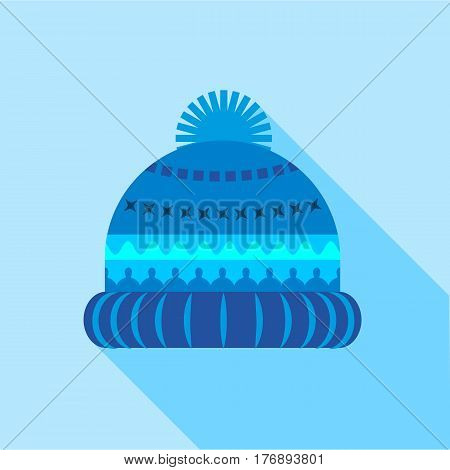 Blue knitted hat icon. Flat illustration of blue knitted hat vector icon for web