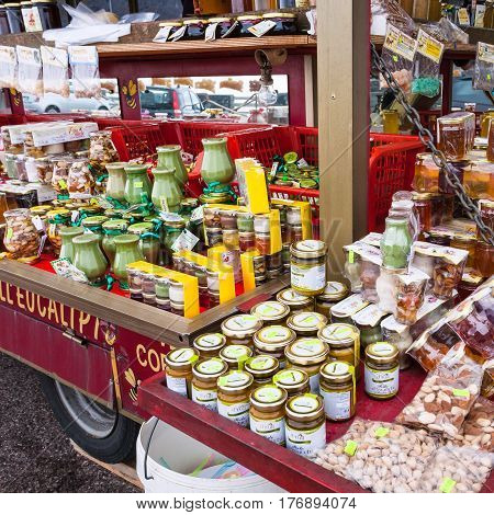 Local Delicacies And Honey On Mount Etna In Sicily