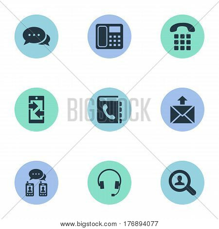 Vector Illustration Set Of Simple Communication Icons. Elements Monitor, Posting, Intercommunication And Other Synonyms Career, Mail And Outgoing.
