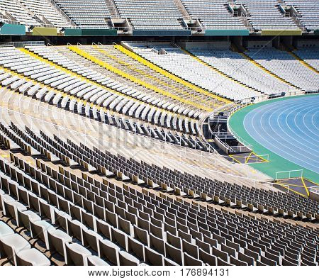 Empty Big Sport Stadium With Plastic Chairs