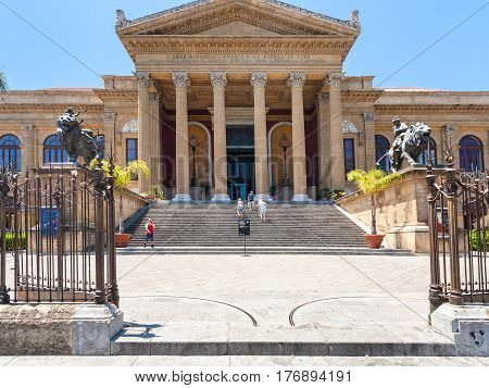 Entrance Of Teatro Massimo Vittorio Emanuele
