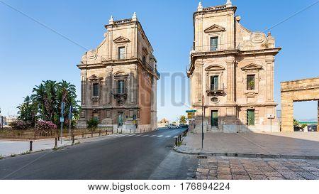Porta Felice Baroque Triumphal Gateway In Palermo