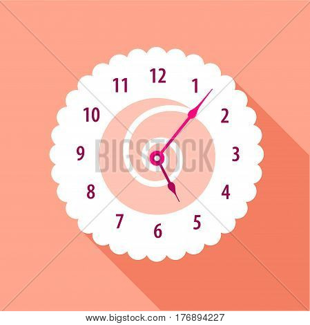 Modern wall numbered clock icon. Flat illustration of modern wall numbered clock vector icon for web