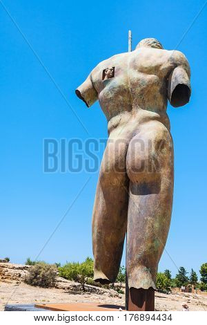 Bronze Statue In Valley Of The Temples In Sicily