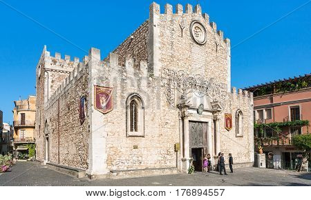 People Near Duomo Catherdal In Taormina City