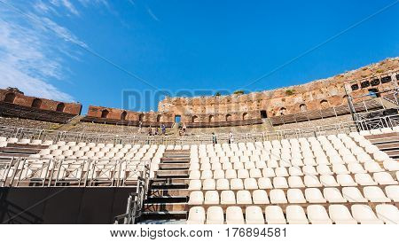 Modern Seats In Ancient Teatro Greco In Taormina