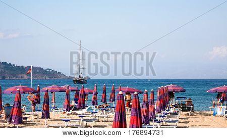 View Of Urban Beach In Giardini Naxos Village