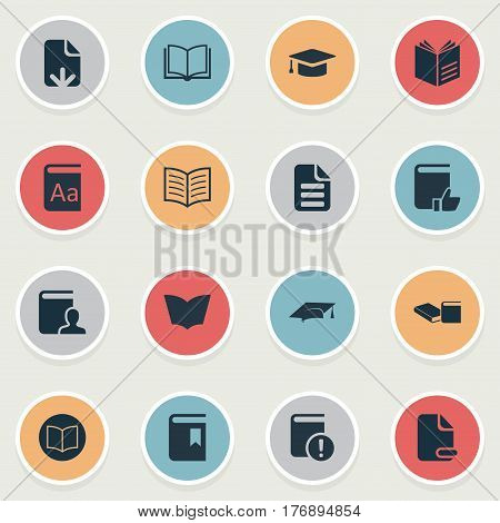 Vector Illustration Set Of Simple Education Icons. Elements Information, Reading, Letter And Other Synonyms Open, Alphabet And Important.