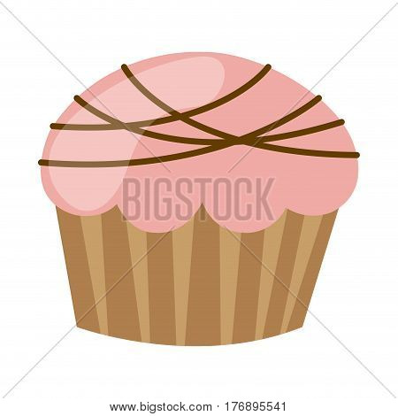 pink muffin with chocolate icon, vector illustration design
