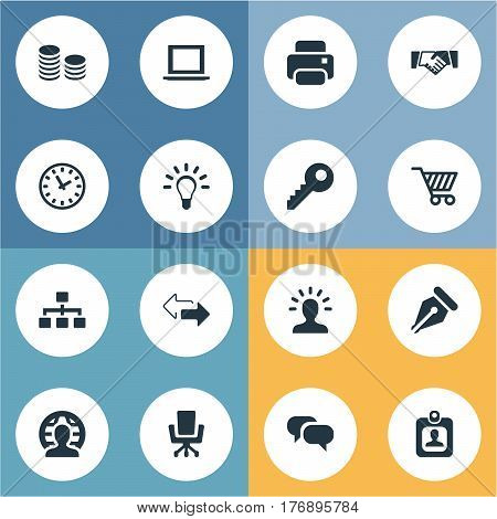 Vector Illustration Set Of Simple Trade Icons. Elements Bulb, Identity Card, Direction And Other Synonyms Timer, Idea And Coins.
