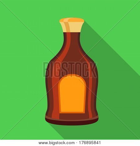 Alcohol brown bottle icon. Flat illustration of alcohol brown bottle vector icon for web