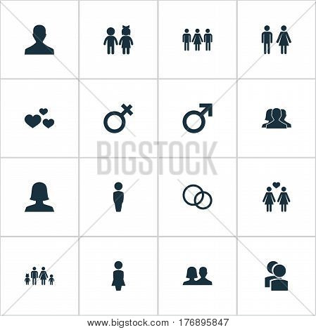 Vector Illustration Set Of Simple Lovers Icons. Elements Lineage, Candidate, Mister Synonyms Children, Lady And Family.