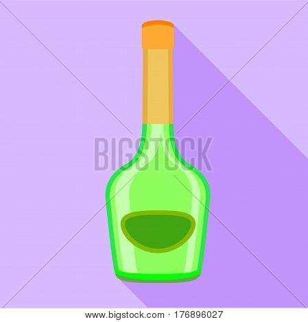 Long neck green bottle icon. Flat illustration of long neck green bottle vector icon for web