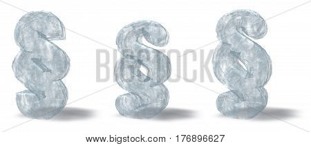 ice paragraph on white background - 3d rendering