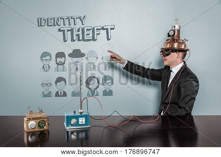 Identity Theft concept with vintage businessman pointing hand