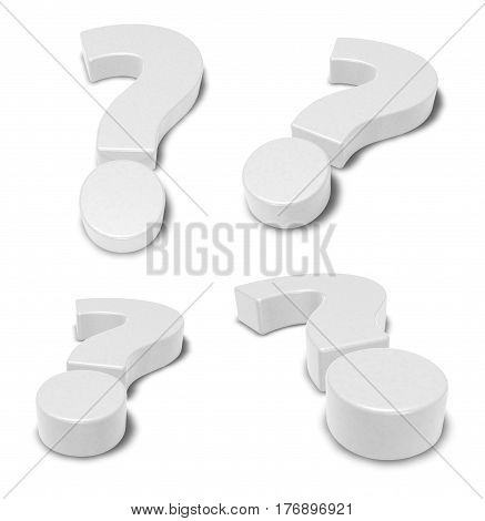 four white question marks - 3d rendering