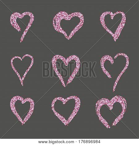 set hearts in pink gold doodle style, the logo, a symbol of love on a black background. use in the design, design element, emblem. vector illustration.