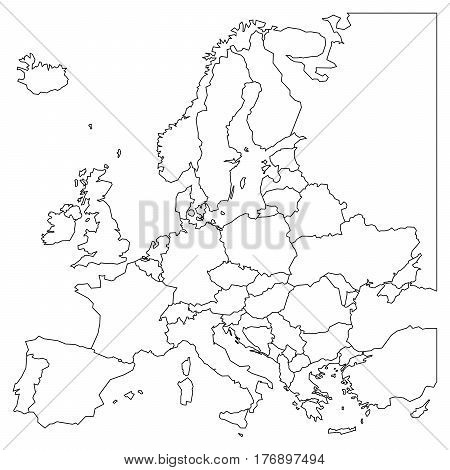 Blank outline map of Europe. Simplified wireframe map of black lined borders. EPS10 vector illustration.