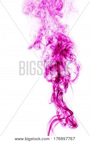 Pink Smoke On White Background. Abstract Art