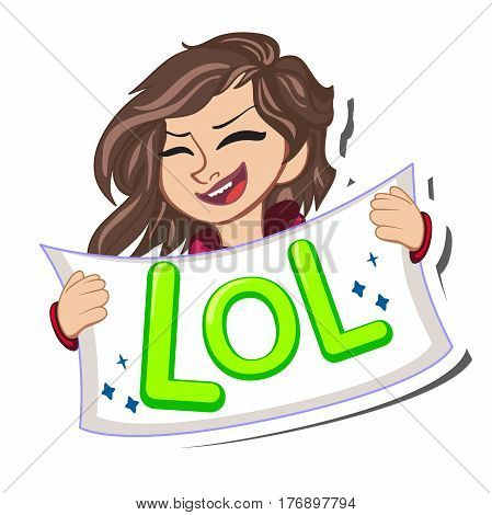 Comic speech bubble with stars, emotional text Lol and open female mouth laughing. Vector bright dynamic cartoon illustration isolated on white background. Vector illustration. Romantic greeting cards.