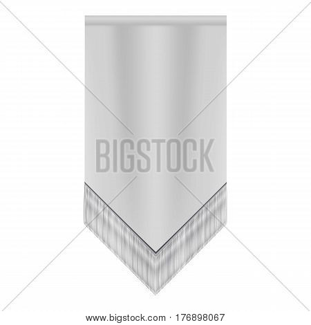 White pennant mockup. Realistic illustration of white pennant vector mockup for web