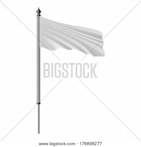 White flag on flagpole flying in the wind mockup. Realistic illustration of white flag on flagpole flying in the wind vector mockup for web
