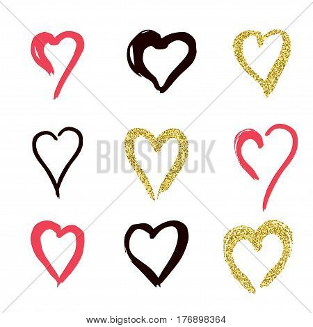 set of doodle hearts in style, the logo, the symbol of love, gold, pink, black on white background. use in decoration, design, emblem. vector illustration.