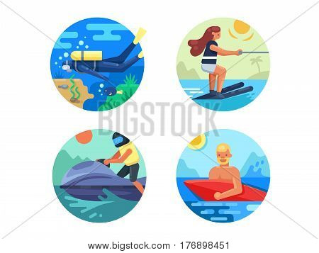 Water sport icon set. Scooter and skiing, diving and surfing. Vector illustration. Pixel perfect icons size - 128 px