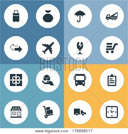 Vector Illustration Set Of Simple Conveyance Icons. Elements Pushcart, Mall, Gift And Other Synonyms Van, Airline And Transport.