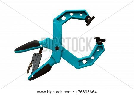 plastic clamps isolated on the white background, collar, jam, compression, be directed