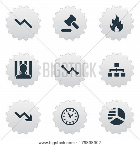 Vector Illustration Set Of Simple Trouble Icons. Elements Downward, Round Graph, Tribunal And Other Synonyms Diagram, Time And Net.