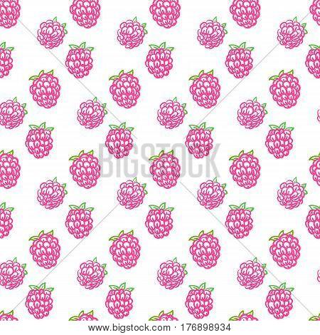 Seamless raspberry pattern including sample in swatch panel (ai)