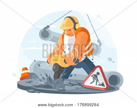 Road worker wearing in helmet with puncher. Construction works. Vector illustration