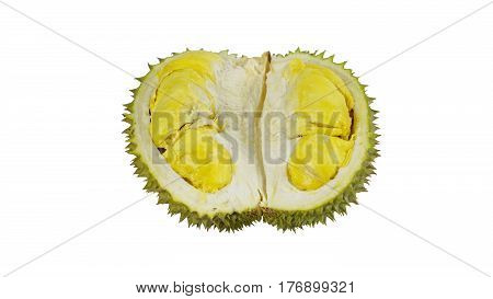 Durian the king of fruits, numerous spike protuberances of the fruit. Durian is distinctive for its large size, strong odour, and formidable thorn covered. Higher prices in the international market.
