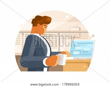 Confident businessman in workplace. Man with coffee and laptop. Vector illustration